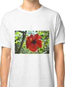 Red hibiscus flower and green leaves background Classic T-Shirt