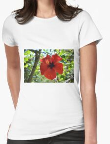 Red hibiscus flower and green leaves background Womens Fitted T-Shirt