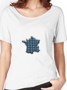 Map of France with photovoltaic solar panels. Women's Relaxed Fit T-Shirt