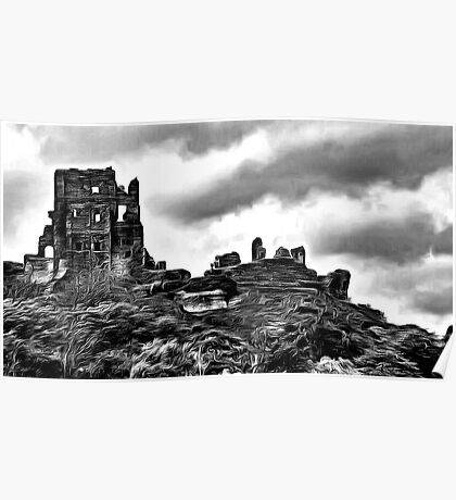 Corfe Castle, Purbeck Hills, Dorset, in black & white (zoom large) Poster