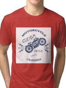 Vintage Motorcycle illustration Tri-blend T-Shirt