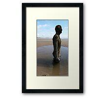 Antony Gormley Statue on Crosby Beach Framed Print