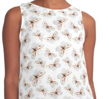 Small pretty butterflies in brown tones and white butterfly design, cute bold animal print design in brown and white, classic statement fashion clothing, soft furnishings and home decor  Contrast Tank