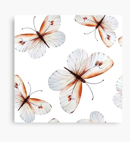 Small pretty butterflies in brown tones and white butterfly design, cute bold animal print design in brown and white, classic statement fashion clothing, soft furnishings and home decor  Canvas Print