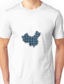 Map of China with photovoltaic solar panels. Unisex T-Shirt