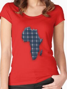 Map of the African continent with photovoltaic solar panels.  Women's Fitted Scoop T-Shirt