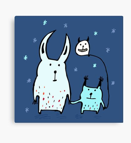 Two Little Monsters Canvas Print
