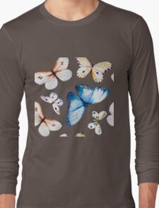 Butterflies multi colour in flight, pretty blue, orange, brown and white butterfly design, cute bold animal print design, classic statement fashion clothing, soft furnishings and home decor  Long Sleeve T-Shirt