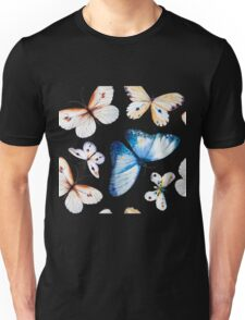Butterflies multi colour in flight, pretty blue, orange, brown and white butterfly design, cute bold animal print design, classic statement fashion clothing, soft furnishings and home decor  Unisex T-Shirt
