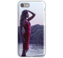 Young woman in beautiful  red dress iPhone Case/Skin