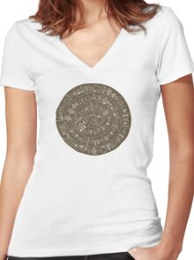 Phaistos Disk Women's Fitted V-Neck T-Shirt