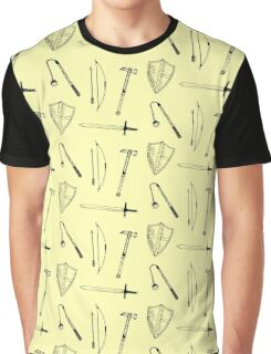 Medieval Weaponry (yellow) Graphic T-Shirt