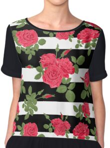 Seamless flower red roses pattern with horizontal stripes Chiffon Top