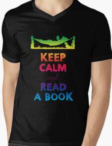 KEEP CALM AND READ A BOOK (RAINBOW) Mens V-Neck T-Shirt