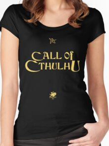 CALL OF CTHULHU - Logo (gold with elder sign & chaosium) Women's Fitted Scoop T-Shirt