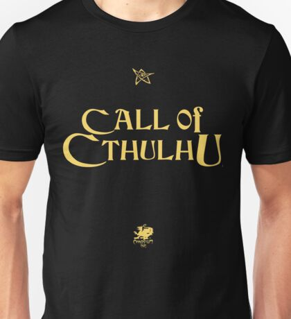 CALL OF CTHULHU - Logo (gold with elder sign & chaosium) Unisex T-Shirt