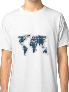 Map of the world with photovoltaic solar panels. Classic T-Shirt