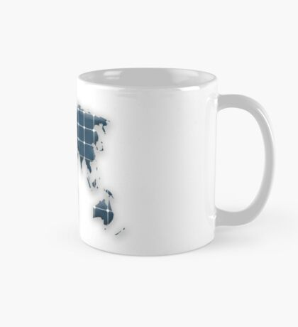 Map of the world with photovoltaic solar panels. Mug