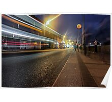 Light trails from a Bus at night Poster