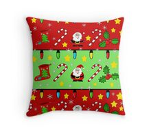 Christmas pattern - green and red Throw Pillow