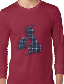Map of the British Isles and Ireland with photovoltaic solar panels. Long Sleeve T-Shirt