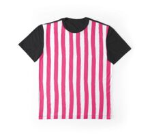 Preppy Cherry Red and White Cabana Stripes Graphic T-Shirt