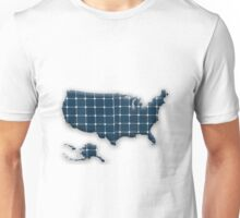Map of the USA with photovoltaic solar panels.  Unisex T-Shirt