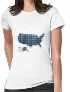 Map of the USA with photovoltaic solar panels.  Womens Fitted T-Shirt