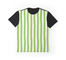 Preppy Green and White Cabana Stripes Graphic T-Shirt