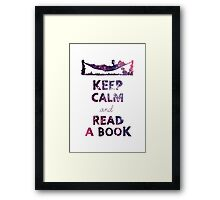 KEEP CALM AND READ A BOOK (Space) Framed Print