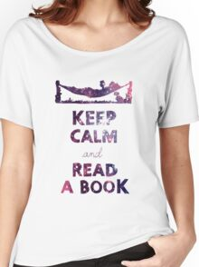 KEEP CALM AND READ A BOOK (Space) Women's Relaxed Fit T-Shirt
