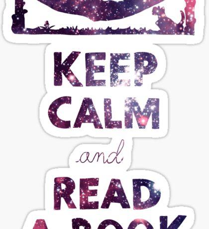 KEEP CALM AND READ A BOOK (Space) Sticker