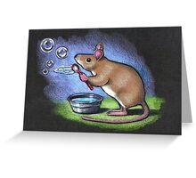 Little Mouse Blowing Bubbles, Original Pastel Art Greeting Card