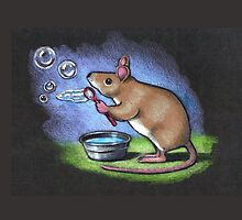Little Mouse Blowing Bubbles, Original Pastel Art by Joyce Geleynse