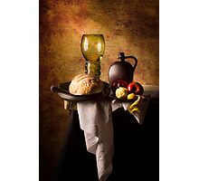 Still Life with Roemer, Flagon, Bread & Fruit Photographic Print