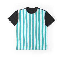 Preppy Turquoise and White Cabana Stripes Graphic T-Shirt