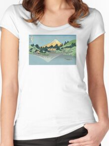 Hokusai Katsushika - Mount Fuji reflects in Lake Kawaguchi, seen from the Misaka Pass in Kai Province Women's Fitted Scoop T-Shirt