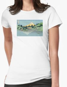 Hokusai Katsushika - Mount Fuji reflects in Lake Kawaguchi, seen from the Misaka Pass in Kai Province Womens Fitted T-Shirt