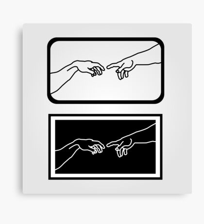 Hands showing the creation of Adam Canvas Print