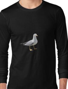 Seagull on limpet shell background Long Sleeve T-Shirt