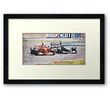 """Spin"", Schumacher and Coulthard Framed Print"