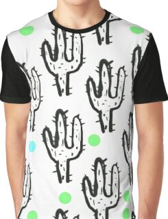 Spiky black and white cactus with dots Graphic T-Shirt