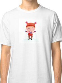 Little Boy in winter costume isolated on white Classic T-Shirt