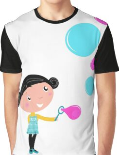 Little girl blowing bubbles - cartoon Vector illustration Graphic T-Shirt