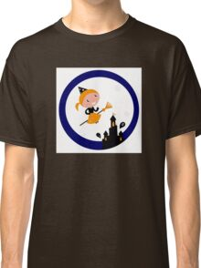 Cute Witch girl flying around Halloween haunted castle Classic T-Shirt