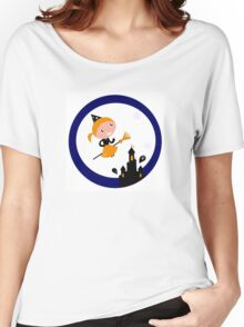 Cute Witch girl flying around Halloween haunted castle Women's Relaxed Fit T-Shirt