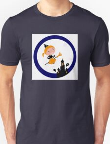 Cute Witch girl flying around Halloween haunted castle Unisex T-Shirt