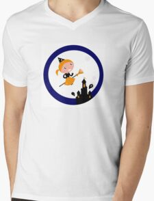 Cute Witch girl flying around Halloween haunted castle Mens V-Neck T-Shirt