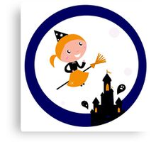 Cute Witch girl flying around Halloween haunted castle Canvas Print