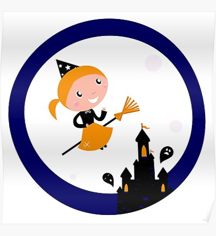 Cute Witch girl flying around Halloween haunted castle Poster